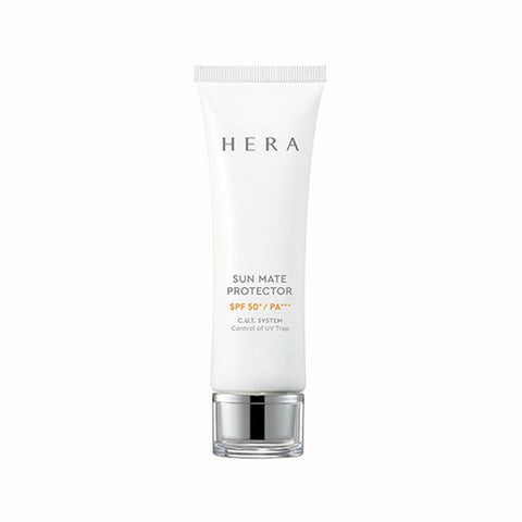 HERA Sun Mate Protector (50ml) SPF50+/PA+++  Features Daily sun care effectively protects skin from UV rays  and harmful city environment and makes skin younger-looking  How to use - Take an adequate amount  at the last step of your morning skincare routine and apply all across the face  Lightly dab on more exposed areas such as the forehead, nose and cheekbones. Be careful to avoid the product going into your eyes.  Clean the mouth of the tube and close it tightly after use.  Keep it at roomtemperature. - Use: 0.5ml (diameter: 1.8cm)  Specification Brand : HERA  Country of origin : Republic of Korea  Target Area : Face - Skin Type : All Skin Types  Condition : 100% Brand-new with original box  Capacity : 50ml