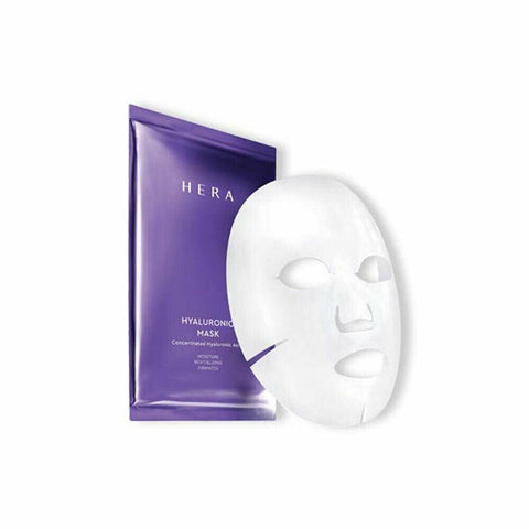 HERA Hyaluronic Mask (6ea)  Features Micro fine mask containing highly concentrated hyaluronic acid providing moisture, elasticity, and hydro-radiant effect to the skin  How to use - Use the toner to smoothen the skin at night  and take out the sheet mask from the pouch.  Unfold the mask and carefully place it on the face matching the cut-outs to your eyes, nose and mouth.  Gently press it to keep it in place.  Remove the mask after about 10-20 minutes and lightly pat the skin upward  with your both hands to help it absorb the remaining essence.   Specification Brand : HERA  Country of origin : Republic of Korea  Target Area : Face - Skin Type : All Skin Types  Condition : 100% Brand-new with original box  Capacity : 26ml*6 sheets
