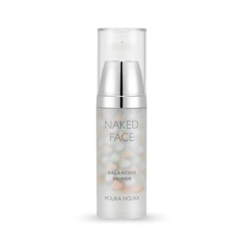 Holika Holika Naked Face Balancing Primer (35g)  Features Holika Holika Naked Face Balancing Primer is a multi-colored balancing formula that improves your complexion!  Using the three colored petal shaped blending method,  it contains green, peach,  and violate hues to help make your skin tone even,  and perfect! Contains dual hyaluronate acid,  with moist TF mixture to give your skin a healthy, and silky glow!  How to use After basic skin care, first step of makeup  pump 1-2 times mix 3 colors apply from inward to outward skin.  Specification Brand : Holika Holika  Country of origin : Republic of Korea  Target Area : Face - Skin Type : All Skin Types  Condition : 100% Brand-new with original box  Capacity:35g