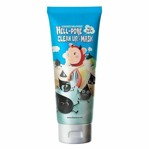 Elizavecca Hell Pore Clean Up Mask (100ml)  Features Eliminate your sebum and impurities at once using ELIZAVECCA Hell Pore Clean Up Mask. It is a peel off type mask that removes blackheads, whiteheads, and dead skin cells effectively..  How to use After cleansing, use steam to open your pores and apply mask to your nose and around nose, then peel off slowly after 15 minutes and remove the sebum from nose surface.  Specification Brand : Elizavecca  Country of origin : Republic of Korea  Target Area : Face - Skin Type : All Skin Types  Condition : 100% Brand-new with original box  Capacity: 100ml