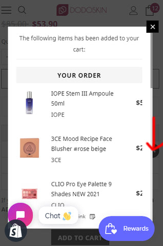 4.If you want to check the number of carts you have in detail, please click  VIEW CART button.