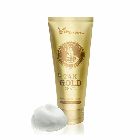 Elizavecca 24k Gold Snail Cleansing Foam (180ml)   Features Soft and rich bubble can remove the makeup residue and skin dirt with deep cleansing. 24K pure gold and the snail mucus filtrate ingredients can protect the skin from external harmful environment, make the skin soothing and moist even after cleansing.   How to use Apply an appropriate amount of the cleanser, then add water and massage till it forms a rich lather, gently massage in circle. Rinse off with warm water.   Specification Brand : Elizavecca Country of origin : Republic of Korea  Target Area : Face - Skin Type : All Skin Types  Condition : 100% Brand-new with original box  Capacity: 180ml