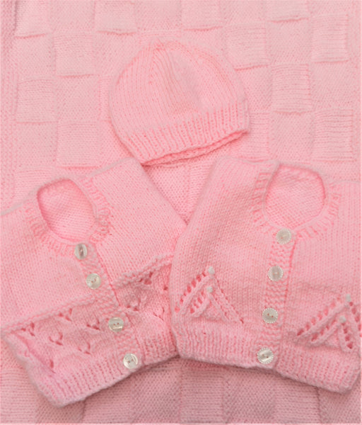 Pink Cardigans, Hat and Blanket Bundle