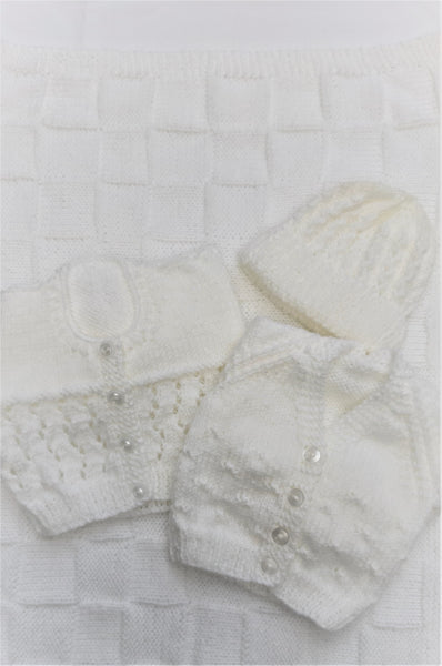 White Cardigans, Hat and Blanket Bundle