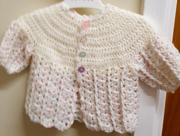 Matinee Cardigan, White/Pink, age 0-3 months