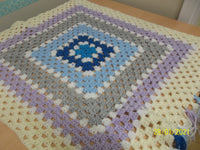 Blanket Multi Coloured Squares, size small, handmade