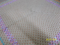 Blanket Beige, Lilac and Teal trim, size small, square shape, handmade