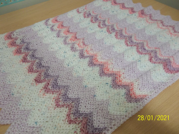Blanket Pink/Lilac chevron, size small, rectangular shaped, handmade