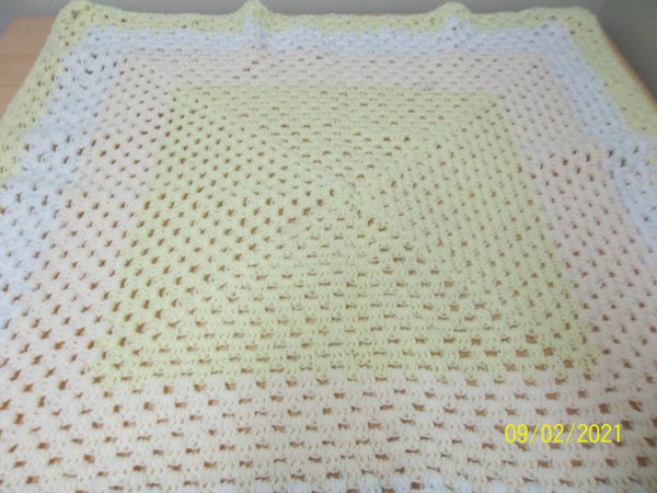 Small Square Baby Blanket,  Lemon, Peach and White, Handmade, crocheted