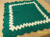 Extra Small Square Baby Blanket, Green and Cream, Handmade, crocheted