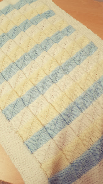 Blanket Lemon/White/blue, size small, rectangular shape, handmade