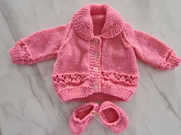 Knit Cardigan & Booties, Pink, Age Pre-term