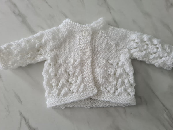 Knit Cardigan, White, Age Pre-term