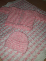 Small Pink & White Set (Blanket, Cardigan & Hat)