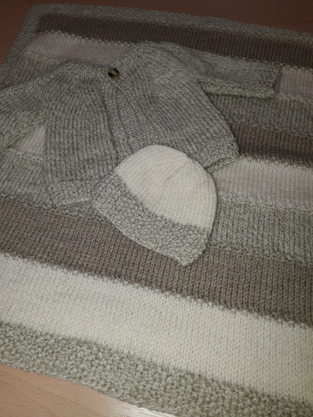 Small Grey & White Set (Blanket, Cardigan & Hat)