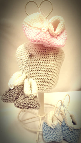 Baby booties, boy, girl, available in various colours and sizes newborn up to 6 months