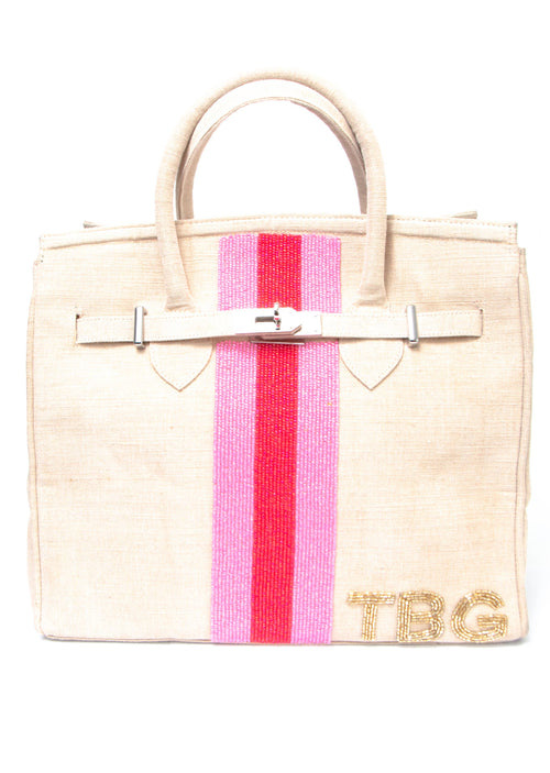 Beaded Monogram/Stripe Tote - Shop Nikki