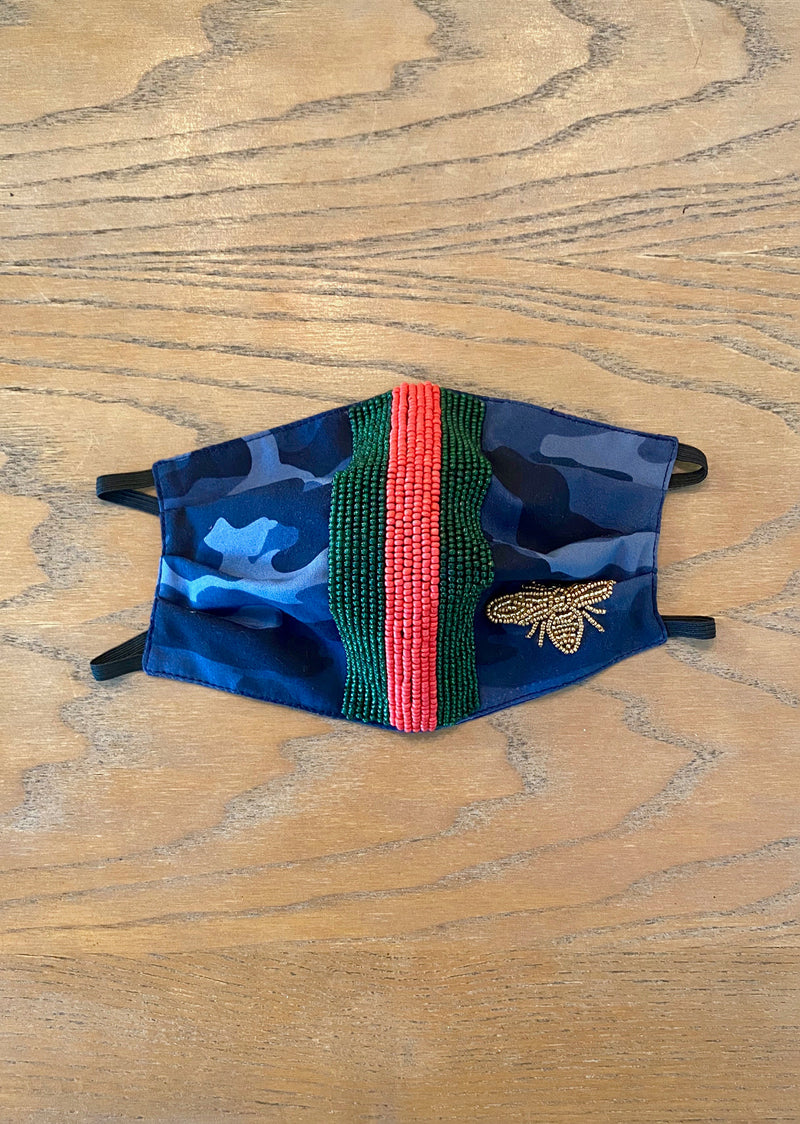 Beaded Bee Mask- Blue Camo/Red & Green Stripe - Shop Nikki