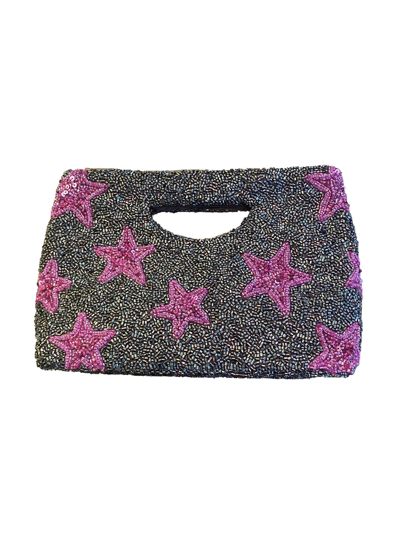 Beaded Cut Out Star Clutch - Shop Nikki