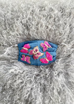 Beaded Butterfly Mask- Denim/Pink