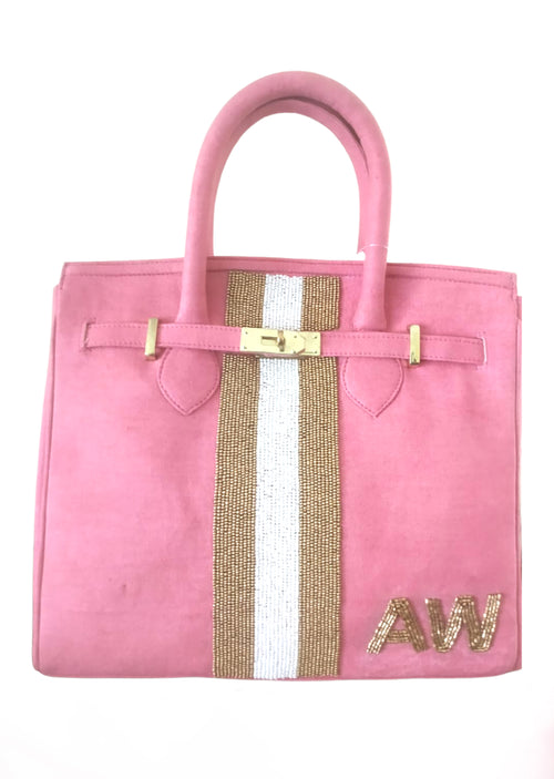 Beaded Monogram Tote- Pink - Shop Nikki