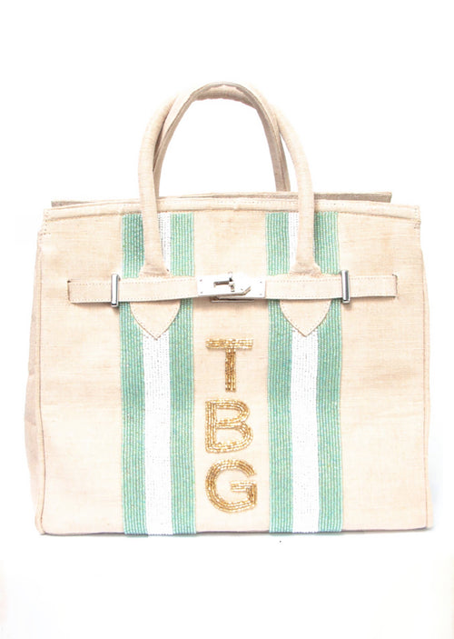 Beaded Monogram Tote- Ivory - Shop Nikki