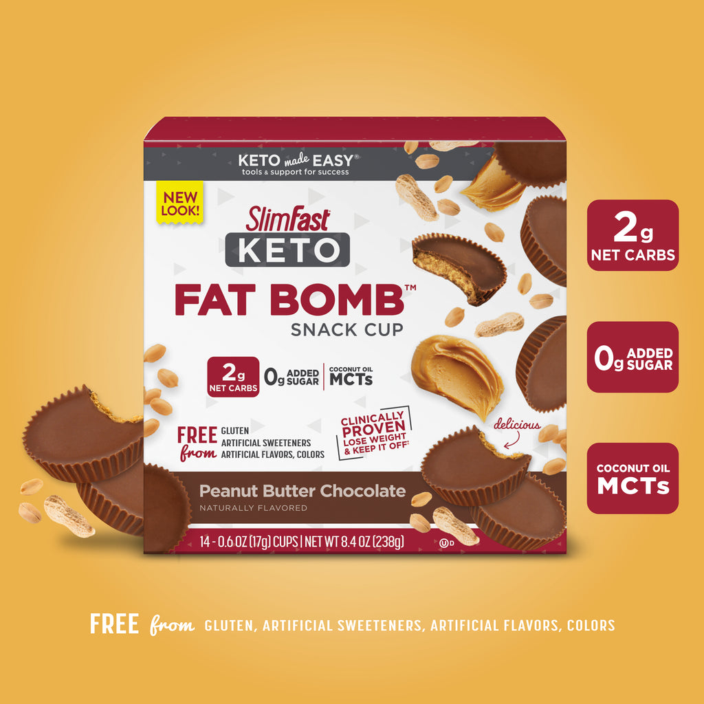 Keto Fat Bomb Snack Cup Peanut Butter Chocolate: 2g net carbs, 0g added sugar, coconut oil MCTs, free from gluten, artificial sweeteners, artificial flavors, colors-product carousel image