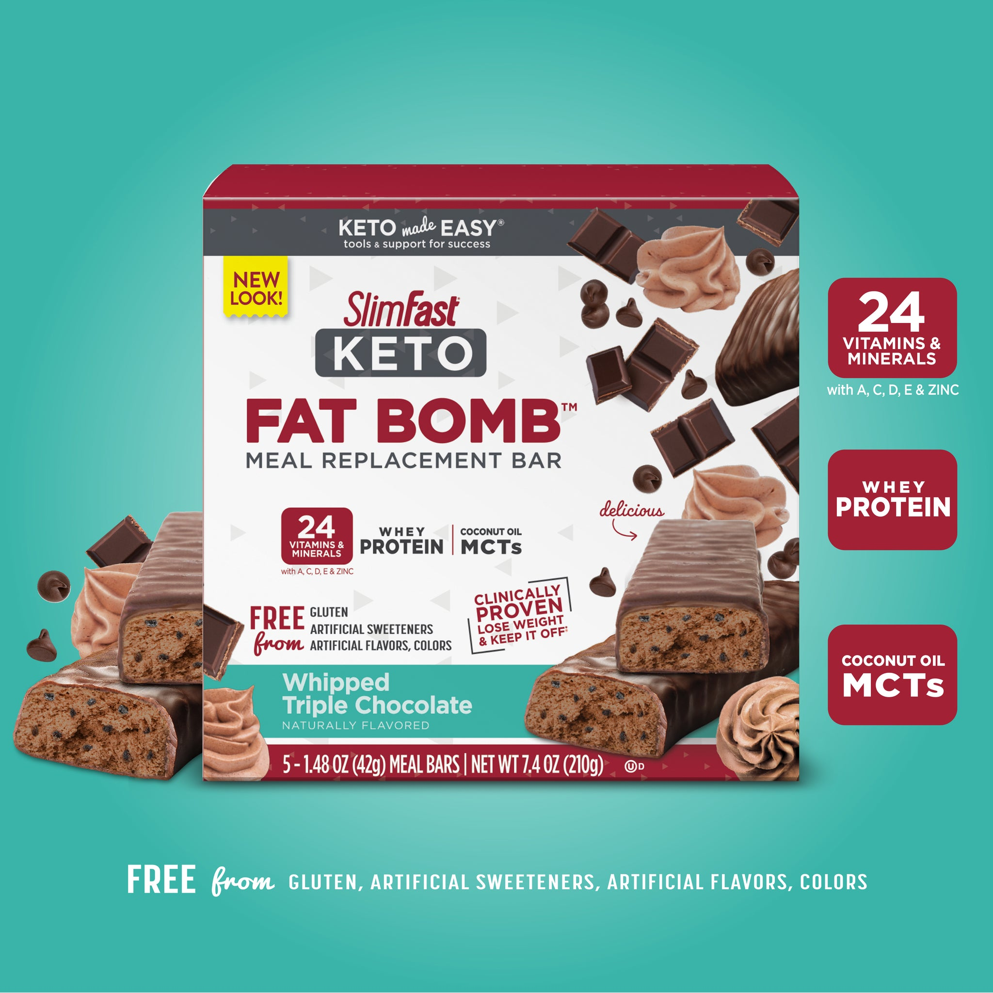 Whipped Peanut Butter Chocolate SlimFast Keto Fat Bomb Meal Replacement Bars