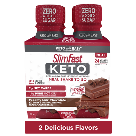 SlimFast Keto Meal Shake to Go 2 flavors available, product packaging carousel image