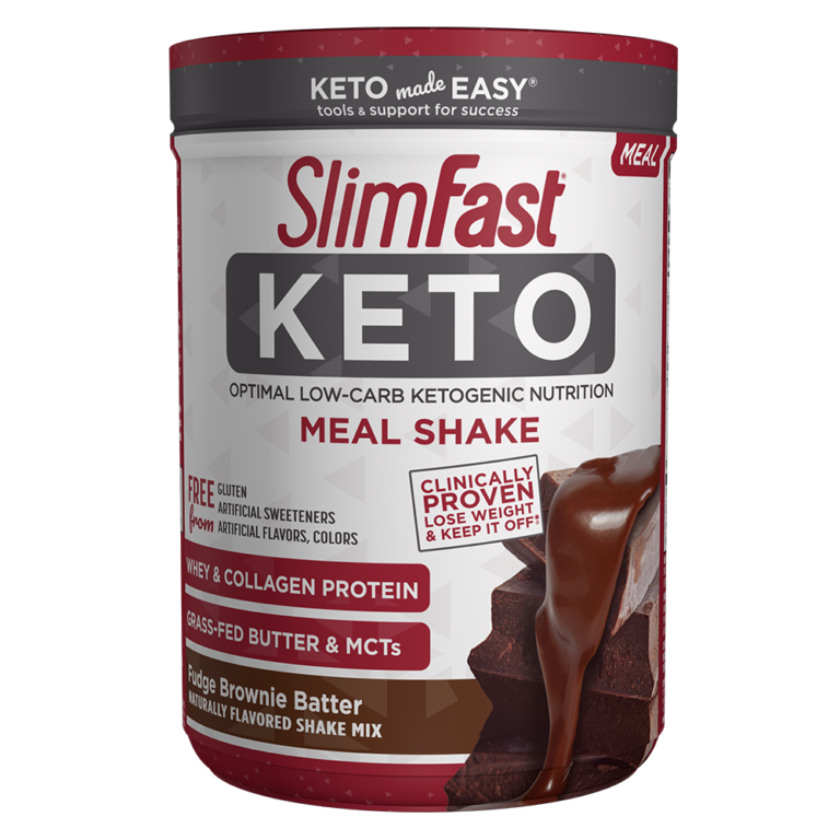 SlimFast Keto Shake Mix Fudge Brownie Batter- product packaging carousel image
