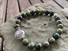 Load image into Gallery viewer, Dragon Blood Jasper and Lotus Flower Stretch Bracelet
