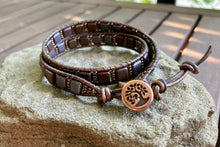 Load image into Gallery viewer, Brown Czechmate Leather Wrap Bracelet