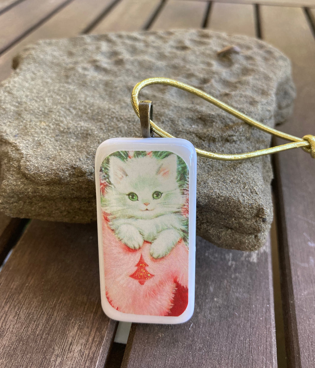 Vintage White Kitten Domino Christmas Ornament