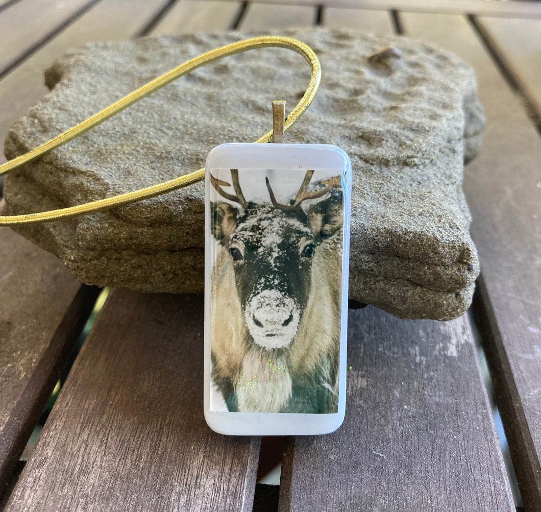 Snowy Elk Domino Christmas Ornament