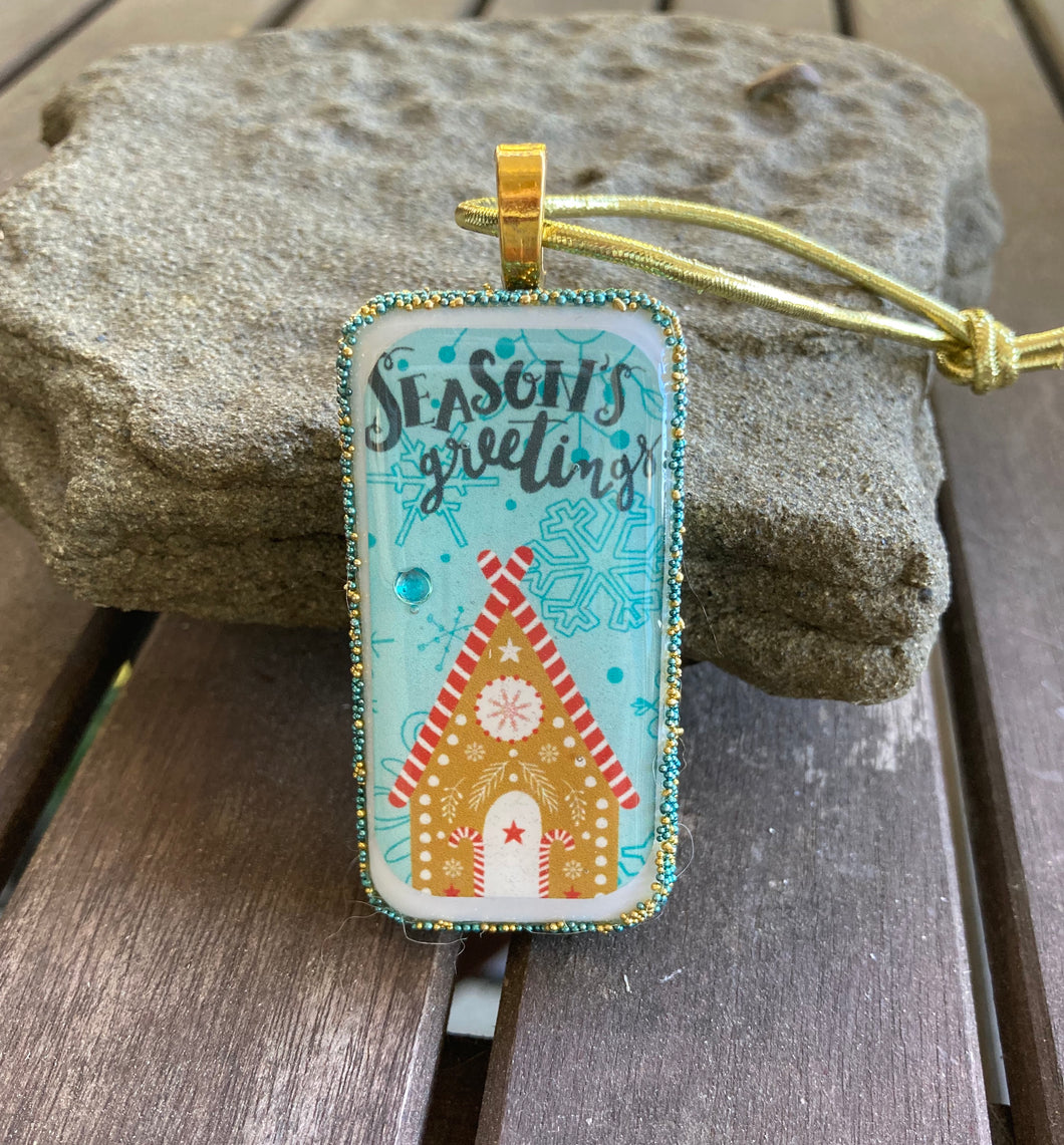 Season's Greetings Gingerbread House Domino Christmas Ornament