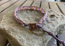 Load image into Gallery viewer, Purple & Rose Gold Hematite Leather Wrap Bracelet