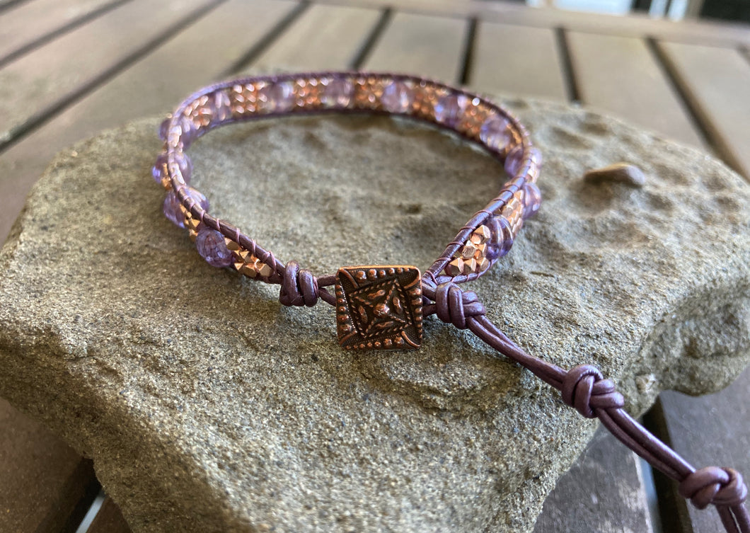 Purple & Rose Gold Hematite Leather Wrap Bracelet