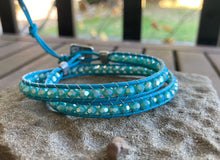 Load image into Gallery viewer, Tiffany Blue Czech Glass Leather Wrap Bracelet