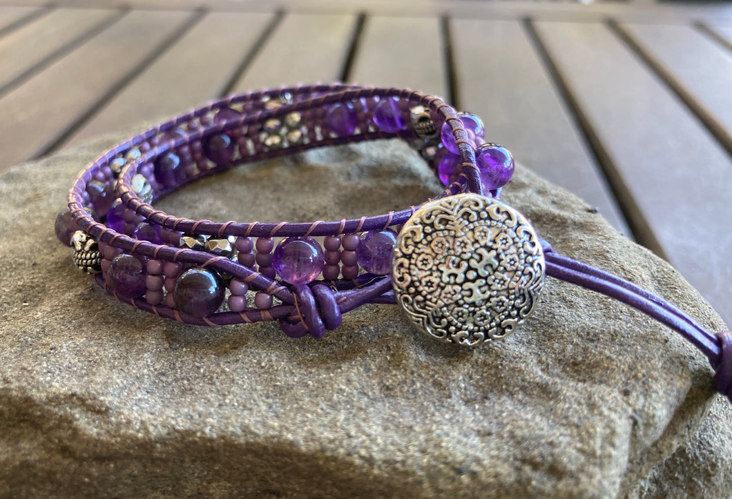 Floral Amethyst Leather Wrap Bracelet
