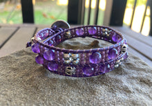 Load image into Gallery viewer, Floral Amethyst Leather Wrap Bracelet