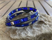 Load image into Gallery viewer, Blue Pearl & Silver Leather Wrap Bracelet