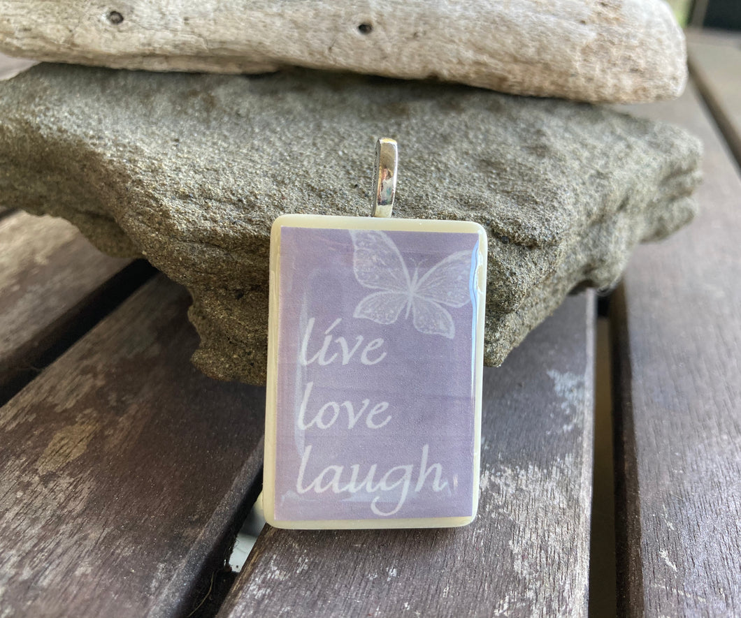 Butterfly Live Laugh Love Rummy-O Pendant