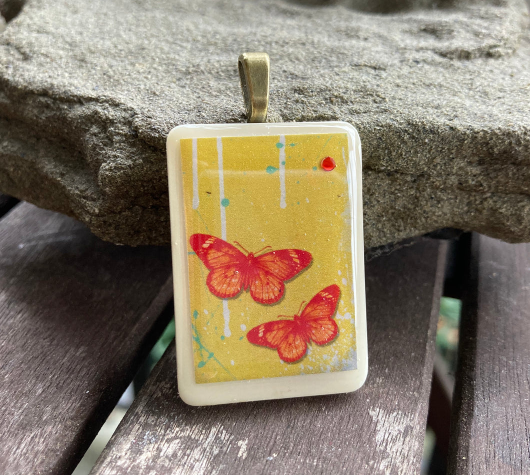 Orange Butterflies Rummy-O Pendant