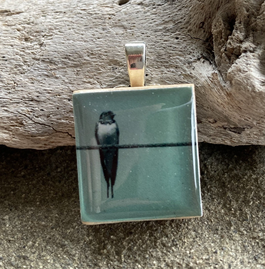 Bird On Wire Photograph Scrabble Tile Pendant