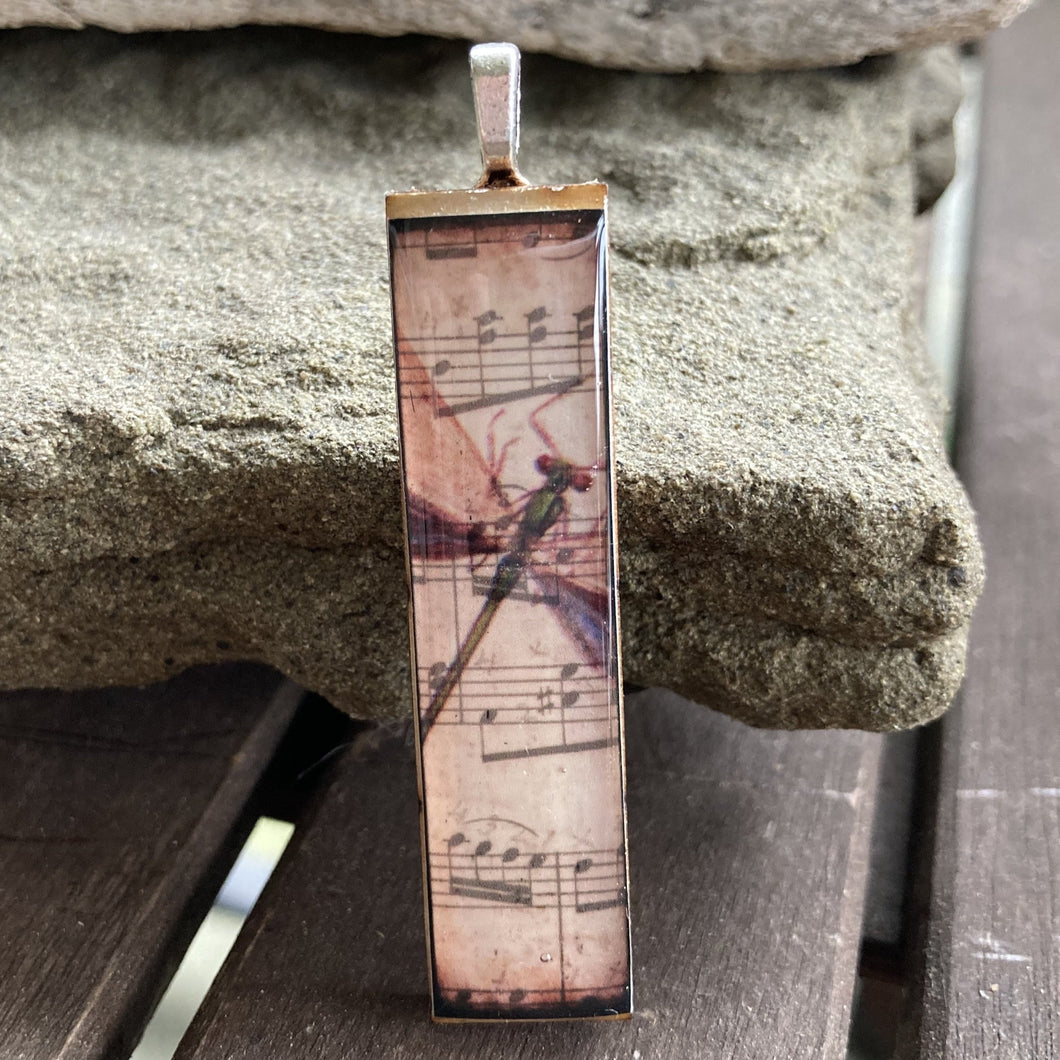 Dragonfly Sheet Music Old-Style Matchstick Pendant