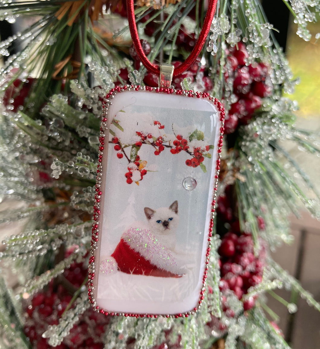 Siamese Kitten in Santa Hat Domino Christmas Ornament