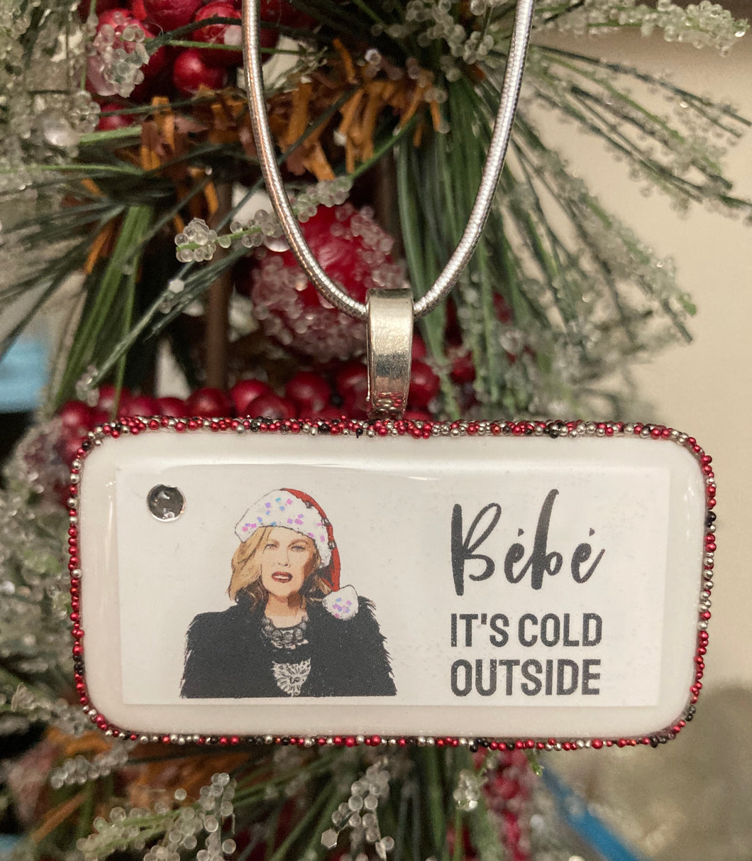Bébé It's Cold Outside Schitt's Creek Domino Christmas Ornament (Beaded)