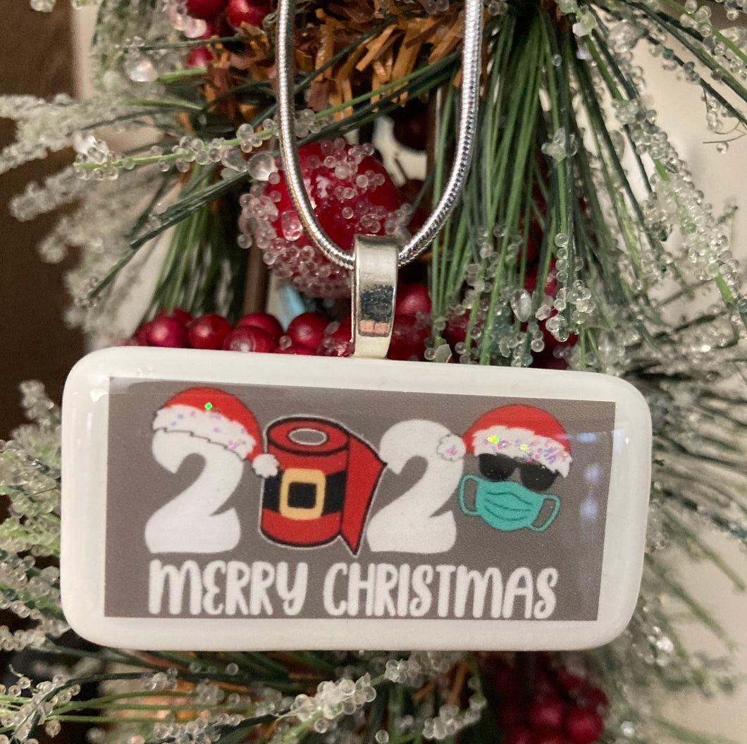 Covid-19 2020 Merry Christmas Domino Ornament