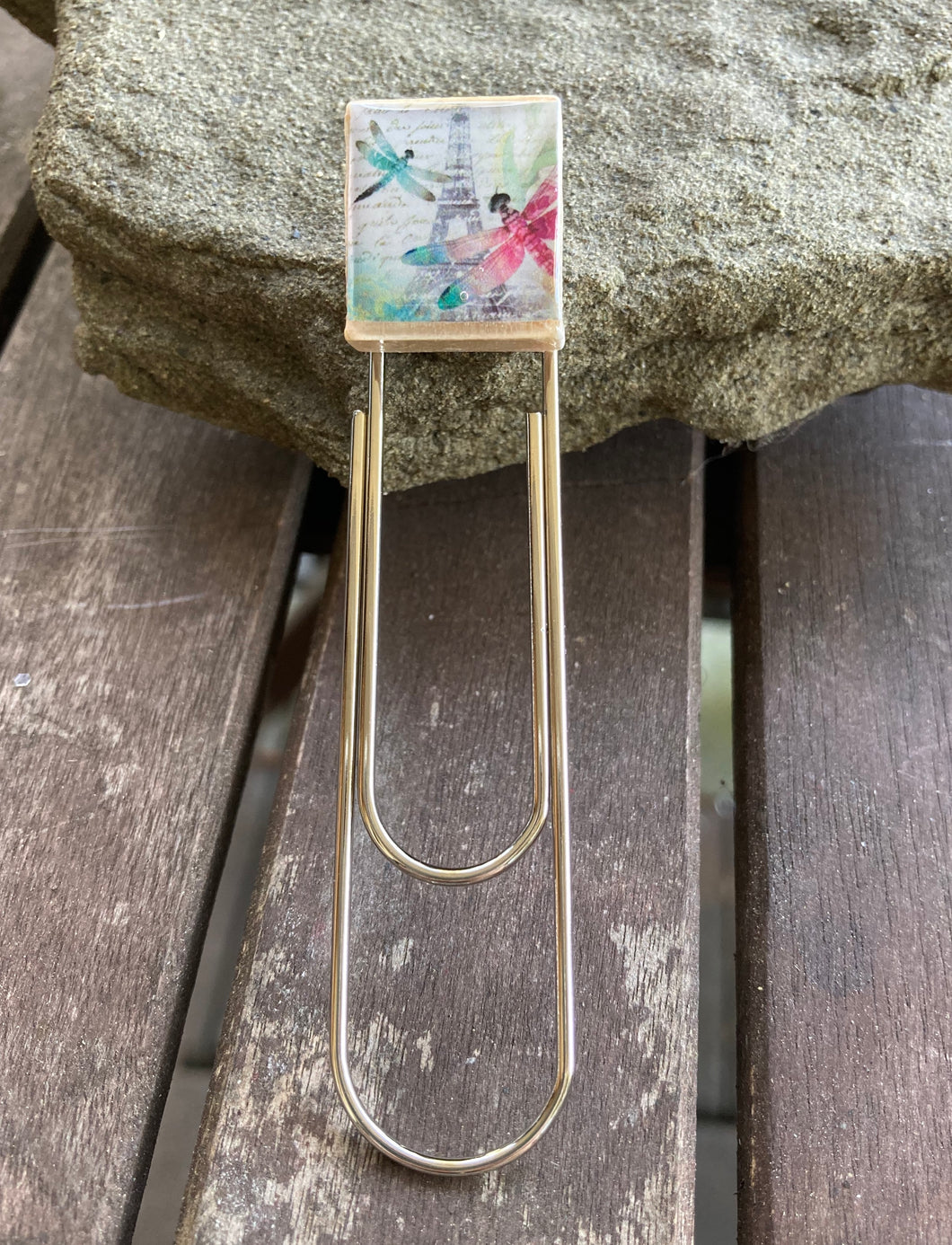 Eiffel Tower Dragonfly Scrabble Tile Bookmark