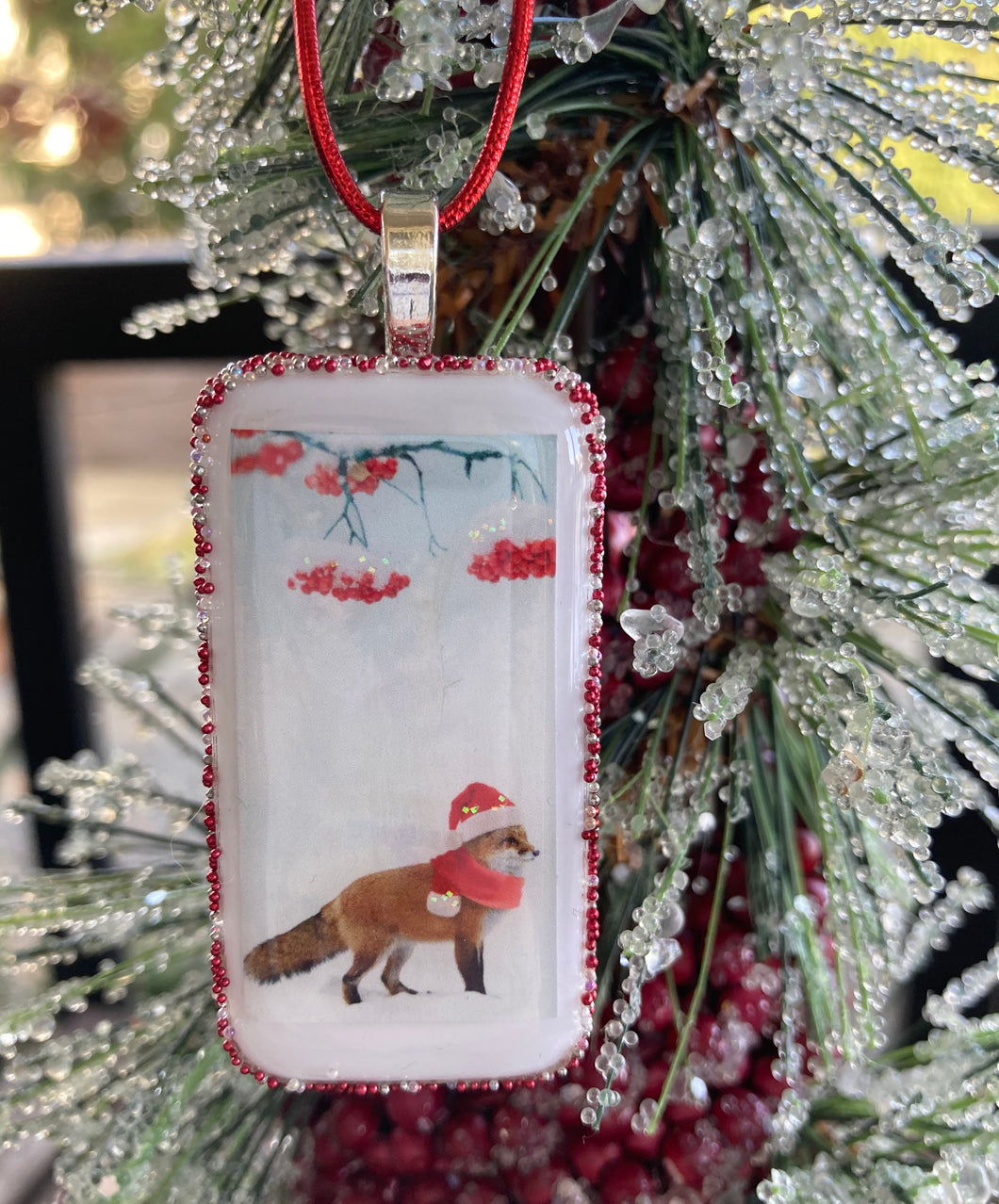 Festive Snow Fox Domino Christmas Ornament